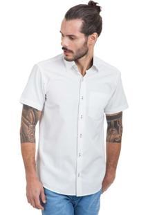 Camisa Di Sotti Manga Curta Microestampa Branca - Masculino