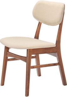 Cadeira Erica Estofado Tecido Linho Cor Bege - 25441 - Sun House