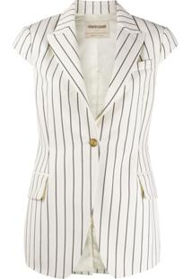 Roberto Cavalli Striped Cap-Sleeve Jacket - Branco