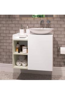 Gabinete Para Banheiro 1 Porta Beto Estilare Móveis Branco/Madeirado