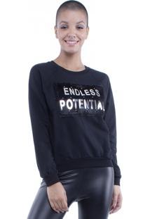 Blusa Moletom Endless Potential Pop Me Preto