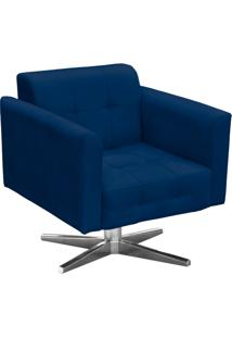 Poltrona Decorativa Elisa Suede Azul Marinho Com Base Giratã³Ria Em Aã§O Cromado - D'Rossi - Azul Marinho - Dafiti