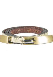 Cinto Couro Canellado Slim Mini Com Fivela E Passante Metal Dourado