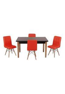 Conjunto Mesa De Jantar Luiza 135Cm Preta Com 4 Cadeiras Gomos - Vermelho