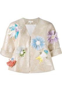 Delpozo Jaqueta Jacquard Floral - Neutro