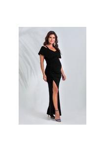 Vestido Amamentação Megadose Moda Gestante Longo C/ Fenda Preto