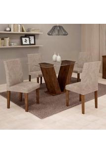 Conjunto De Mesa De Jantar Com 4 Cadeiras Classic Veludo Chocolate