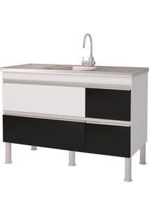 Balcao Cozinha Prisma Puxador Perfil 1,14 Metros Branco E Preto
