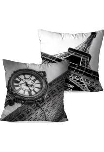 Kit 2 Capas Para Almofadas Decorativas Love Decor Londres E Paris 35X35Cm Pretas - Kanui