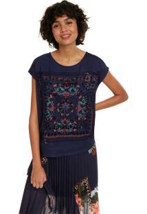 Blusa Desigual Estampada Azul-Marinho - Kanui
