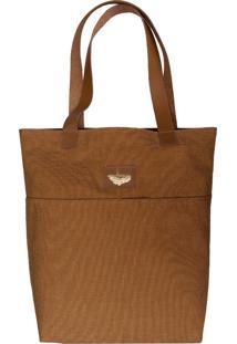 Bolsa Line Store Leather Sacola Shopper Tecido Caramelo - Caramelo/Marrom - Feminino - Dafiti