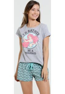 Pijama Short Doll Feminina Princesa Ariel Disney