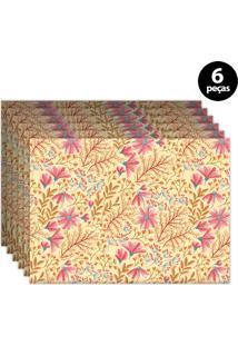 Jogo Americano Mdecore Floral 40X28Cm Laranja 6Pçs