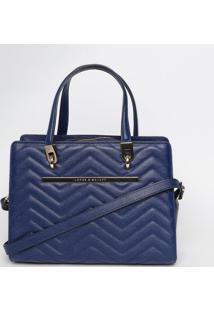 Bolsa Em Couro Matelassãª- Azul Escuro- 24X31X8Cmjorge Bischoff