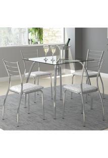 Mesa 1502 Vidro Incolor Cromada Com 4 Cadeiras 1700 Fantasia Branco Carraro