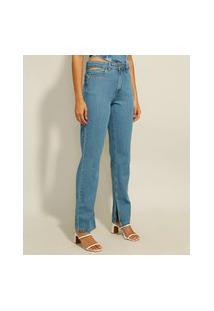 Calça Reta Jeans Cintura Cut Out Cintura Alta Azul Médio
