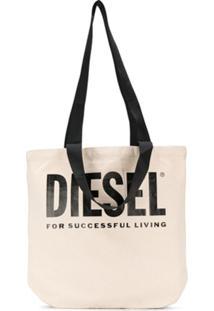 Diesel Bolsa Tote De Canvas Com Estampa De Logo - Neutro