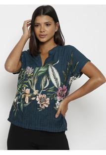 Blusa Floral - Azul Escuro & Verdevip Reserva