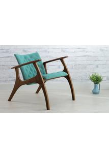 Poltrona Design Azul Turqueza - Poltrona Retrô Estofada Com Pés De Madeira - Verniz Capuccino \ Tec.950 - Smith - 69X83X74 Cm