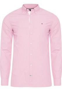 Camisa Masculina Slim Grid Dobby - Vermelho
