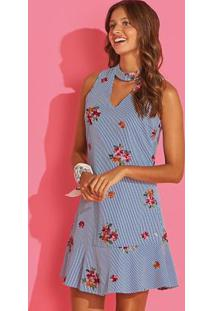 Vestido Azul Claro Floral Com Abertura