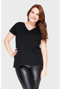 Camiseta Decote V Plus Size Feminina - Feminino-Preto