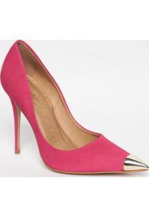 Scarpin Em Couro Com Aviamento- Pink & Prateado- Salcarrano