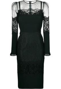 Dolce & Gabbana Vestido Midi De Renda - Preto