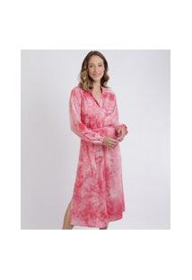 Vestido Feminino Mindset Chemise Midi Estampado Tie Dye Manga Longa Com Botões E Fenda Pink