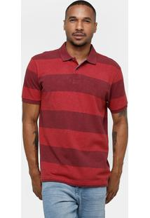 Camisa Polo Richards Piquet Listras Masculina - Masculino-Vermelho