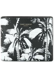 Saint Laurent Carteira Dobrável Com Palmeira - Preto