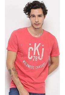 Camiseta Calvin Klein Wildness Chasers Manga Curta Masculina - Masculino-Vermelho
