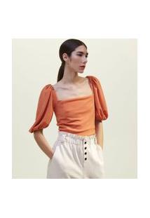 Blusa Cropped Com Mangas Bufantes E Fio Metalizado | A-Collection | Laranja | Gg