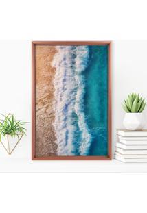 Quadro Com Moldura Chanfrada Praia Rose Metalizado - Médio