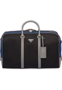 Prada Nylon And Saffiano Leather Duffle Bag - Preto