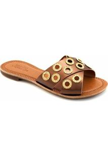 Rasteira Tiras Transpassadas Numeração Especial Sapato Show 432E - Feminino-Bronze
