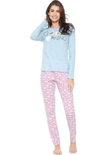 Pijama Mundo Do Sono Good Morning Rosa/Azul