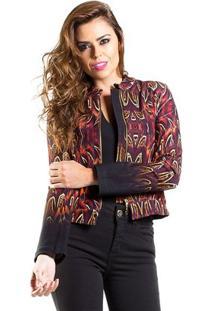 Jaqueta Estampada Feminina - Feminino-Vermelho