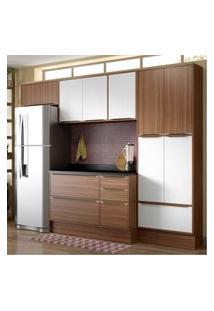 Cozinha Completa Multimóveis Com 6 Peças Calábria 5458R Nogueira/Branco