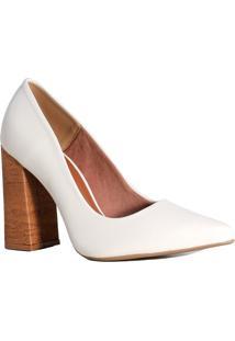 Sapato Scarpin Feminino Zariff Salto Madeira Off White