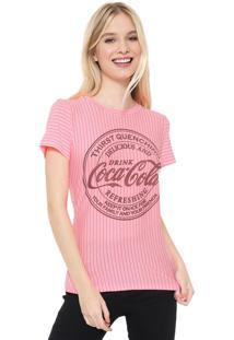 Camiseta Coca-Cola Jeans Listrada Pink