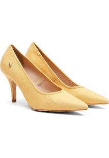 Scarpin Feminino Camurça Candy Color Bico Fino Salto Médio - Feminino-Amarelo