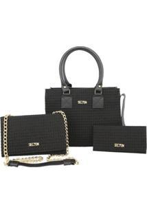 Kit Bolsas Handbag Clutch E Carteira Feminina Prática Casual - Feminino-Preto