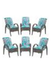 Cadeiras 6Un P/ Jardim Lazer Edicula Varanda Descanso Fibra E Tramas Napoli Plus Tabaco A22
