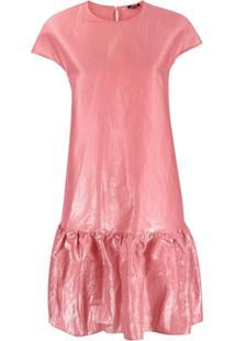 Aspesi Vestido De Cetim Com Acabamento De Babados - Rosa