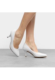 Scarpin Modare Salto Médio Fino - Feminino-Branco