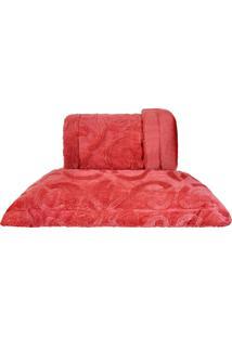 Cobertor King Slim Peles Dupla Face Com Porta Travesseiro - Brique