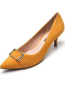 Scarpin Couro Jorge Bischoff Camurça Amarelo