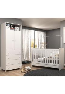 Quarto Infantil Completo Com Roupeiro E Berço 4X1 Escrivaninha Com Colchão Amore Plus Multimóveis