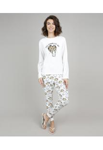 9c08f300f ... Pijama De Inverno Feminino Milk E Cookie Em Fleece Manga Longa Off White